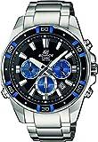 Casio EDIFICE Reloj en caja sólida de acero inoxidable, 10 BAR, Azul/Negro, para Hombre, con Correa de Acero macizo, EFR-534D-1A2VEF