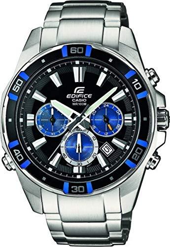 Casio EDIFICE Orologio, Robusta Cassa, 10 BAR, Azzurro/Nero, Uomo con Cinturino in Acciaio Inox Massiccio EFR-534D-1A2VEF