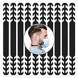 HELAFUN - 10 Piezas - Protector orejas, Sujeta mascarillas, Salvaorejas para mascarillas para adultos y niños, color negro.