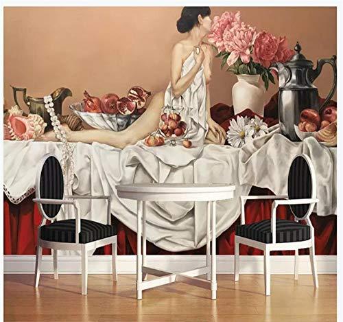 3D muurschildering behang, grootte modern abstract schilderij Nake Mooie vrouw eettafel afbeelding 5 D print zijde doek doek kunst decor voor muren woonkamer slaapkamer eetkamer kantoor 420cm(W) x 260cm(H) (13.78 x 8.53) ft