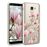 kwmobile Hülle kompatibel mit Samsung Galaxy J6 - Hülle Silikon transparent Magnolien Rosa Weiß Transparent