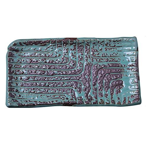 ZZRR Plato de Sushi Rectangular Creativo de 9.5 Pulgadas, vajilla de cerámica, Textura de Superficie cóncava y Convexa, Puede Contener Sashimi de Postre, Dos Colores para su elección