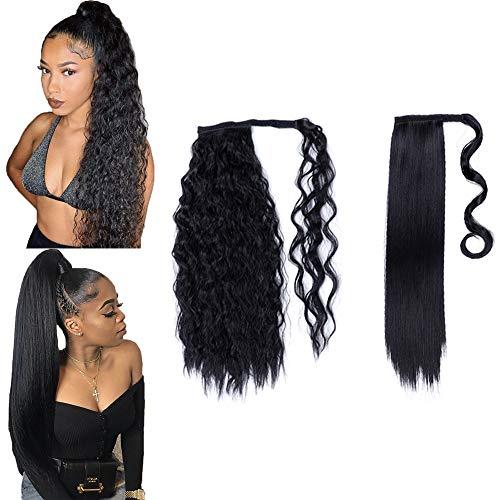 2 piezas de 24 pulgadas de largo, negro, recto, rizado, con cola de caballo, extensión de cabello, envoltura alrededor de extensiones de cola de caballo, clip sintético para mujeres