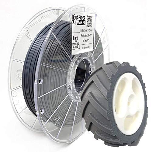SpiderMaker SpiderFlex Matte Finish Flexible TPE 3D Printing Filament - Shore 40D / 90A, 1.75mm, 500g (Iron Gray)