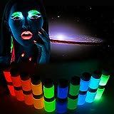 Brilla en la oscuridad cuerpo pintura, 10colores piel cara pintura luminosa pintura Pigmento bares Super brillante pintado a mano polvo fluorescente pintura para los hombres, mujeres, niños