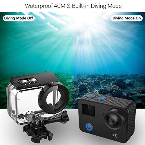 IXROAD Action Camera 4K 24MP WiFi Gyro Anti-Shake Helmet Cam Underwater 40M with Touch Screen Remote Control Waterproof Case 2 Batteries 1350mAh and Mounting Accessories Kit