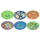 CAPRILO. Set de 6 Soportes de Incienso Decorativos de Arcilla Multicolores. Adornos y Esculturas. Decoración Hogar. Regalos Originales. 13 x 13 x 2 cm.