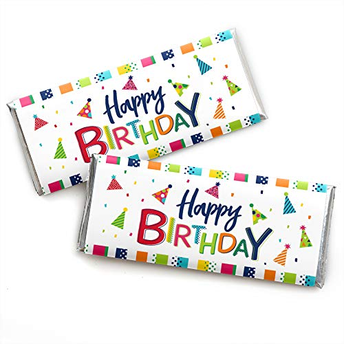 Cheerful Happy Birthday - Candy Bar Wrapper Colorful Birthday Party Favors - Set of 24