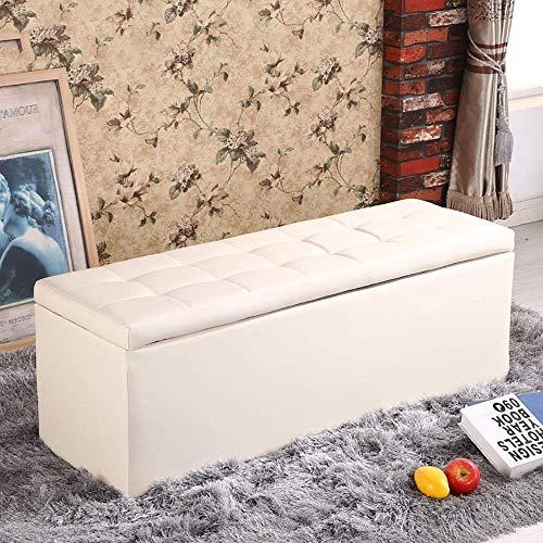 POETRY zitzak voor bank, kruk, schoenen, rechthoekig, schoenwissel, gestoffeerd, van leer, in het midden, voor winkels, kleding, kruk, bank of als opbergdoos voor thuis, 5 kleuren 120x40x40cm-white