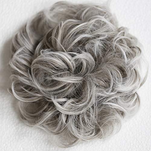 PRETTYSHOP XXL Haarteil Haargummi Hochsteckfrisuren Voluminös Gelockt Unordentlich Dutt Grau Mix HW31