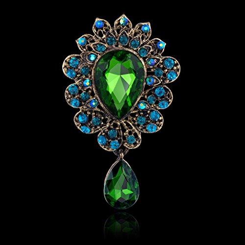 Colcolo Bufanda de Las Mujeres de La Boda Diamantes de Imitación de Cristal Azul Verde Broche de Joyería de Oro