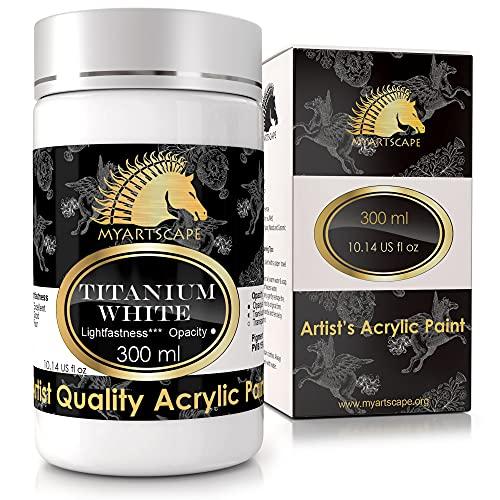 MyArtscape Peinture Acrylique Blanc de Titane - Qualité pour Artistes, blanc, 300 ml