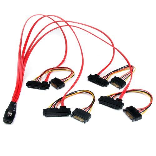 StarTech.com 50cm Internal Serial Attached SCSI Mini SAS Cable - SFF8087 to 4x SFF8482 - Internal Mini SAS Cable (SAS808782P50) , Red