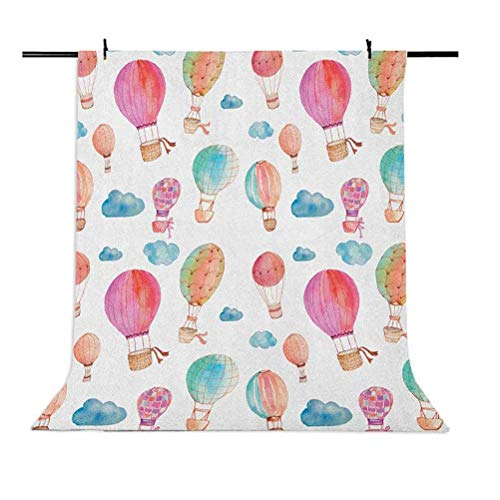 9x16 FT Watercolor Vinyl Photography Backdrop,Hand Painted Style Set of Cute Floating Hot Air Balloons with Blue Clouds Background for Party Home Decor Outdoorsy Theme Shoot Props