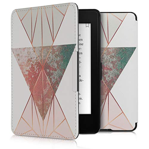 kwmobile Klapphülle kompatibel mit Amazon Kindle Paperwhite - Hülle eReader (für Modelle bis 2017) - Glory Dreieck Beige Rosegold Weiß