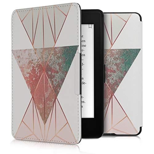 kwmobile Amazon Kindle Paperwhite Hülle - Kunstleder eReader Schutzhülle Cover Case für Amazon Kindle Paperwhite (für Modelle bis 2017) - Glory Dreieck Design Beige Rosegold Weiß