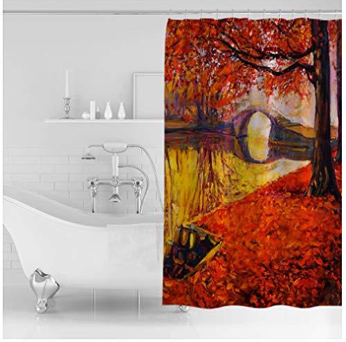 daimin PVC Herbst Rot Ahorn Blatt Wald Landschaft Duschvorhang Wasserdichtes Polyester 180x200cm mit Haken