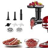 Attaccamento Tritacarne per KitchenAid Robot da Cucina, Accessorio Tritacarne con Disco per Macinare, Corna per Ripieno di Salsicce, COFUN Accessorio per Tritacarne (Nero)