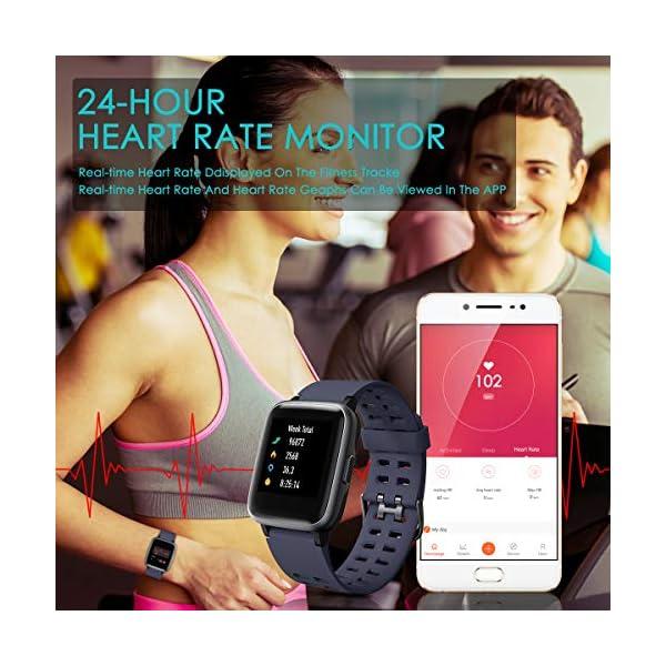 HOMVILLA Pulsera Actividad, Fitness Tracker, Reloj Inteligente Impermeable IP68 con Pulsómetro Monitor de sueño Pulsera… 3
