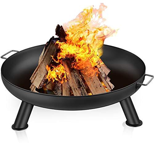 Amagabeli Feuerschale für Draußen 76cm Gross Feuerstelle Terrasse Fire Pit Garten Terrasse-Schale mit Griffen Hochwertig Garten Multifunktional Fire Bowl Balkon für Camping Hof Feuerschale