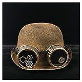 LHZUS Sombreros para mujer, hombre, steampunk, bowler, gorra, para ropa, para la parte superior, sombrero Fedora Billycock, sombrero de jazz, endoscopio (color dorado, talla 57-58 cm)