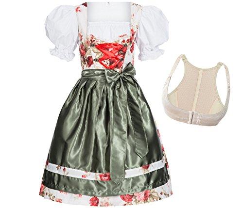 Gaudi-Leathers 4-delige traditionele damesdirndl-set Lotta: jurk, blouse, schort en push-up beha Shaper voor Oktoberfest, carnaval of themafeesten, merk
