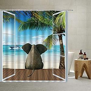 Ocean Beach Shower Curtain,Creative Nautical Elephant Animal Wood Board Seascape Sunbeds Ship Balcony Summer Picture Tropical Island, Cloth Fabric Bathroom Decor Set with Hooks, Blue ,70 X 70 Inch