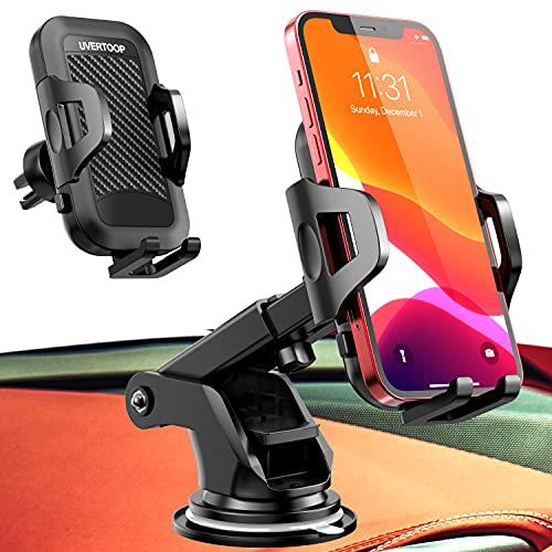 UVERTOOP Porta Cellulare da Auto Smartphone per Cruscotto e Parabrezza, Supporto Cellulare Auto per Molti 3 in 1 Supporto Smartphone Auto Porta Telefono per iPhone 12 11 Pro Xs Max 8 7 Samsung ecc.…