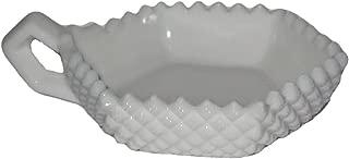Vintage Westmoreland Milk Glass English Hobnail Single Handled Candy Dish, 6 x 5 x 1 1/2 Inch