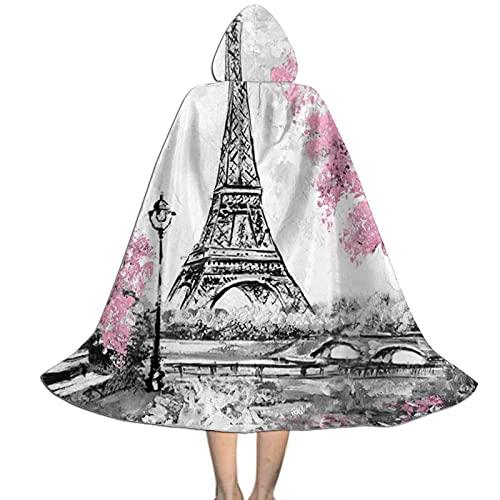 Donono Capa larga con capucha unisex para niños, de la Torre Eiffel de los árboles rosados, para Halloween, disfraz de cosplay para fiestas de disfraces, Negro, M
