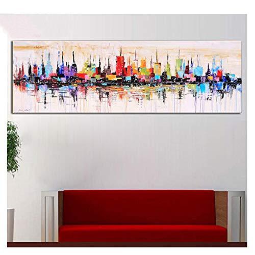 5D Diy Pintura Diamante Ciudad de Nueva York Bordado de Diamantes Imagen De Rhinestone Abstracto Moderno Mosaico Puzzle Decoración Del Hogar,30X90cm