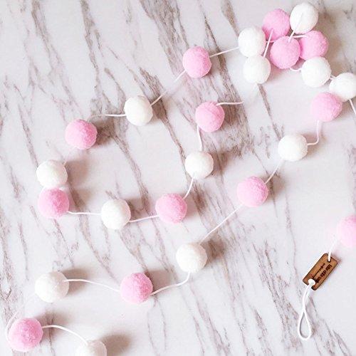 Guirnalda de fieltro de lana Favolook, 2 m, 30 piezas, para decoración de la habitación de los niños, hecha a mano, para decoración de la pared, para dormitorio, fiesta, rosa y blanco, Tamaño libre