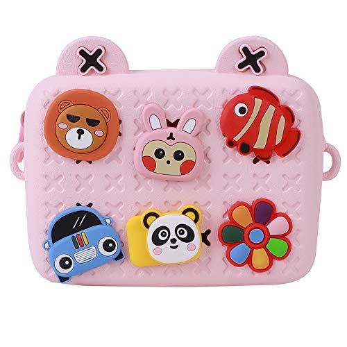awstroe Kids Camera Bag,Portable Lovely Children Camera Bag Single Shoulder Messenger Crossbody Chest Bag Cartoon Storage Children Camera Bag Gift for kids(pink)