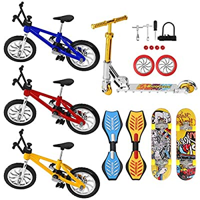 Mini Bike Finger Bike Finger Skateboard Set,Excellent Functional Miniature Toys Mini Extreme Sports Finger Bicycle Skateboard Cool Boy Toy Collections Cake Decoration (8PCS Bikes Skateboard Set)
