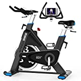 pooboo Exercise Bike Belt Driven Indoor Cycling Bike Commercial Standard Stationary Bike with 44lbs Flywheel for Professional Cardio Workout (Black and Blue)