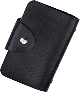 New ID PU Leather Credit Card Holder with 24 Plastic Card Slots Protector and Small Slim Organizer Portable Case Holder with Business Card Unisex Wallet For Travel Security