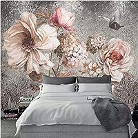 Iusasdz ヨーロピアンスタイル3Dステレオ花写真壁画壁紙リビングルーム寝室レトロな家の装飾背景壁画3Dフレスコ画-280X200Cm