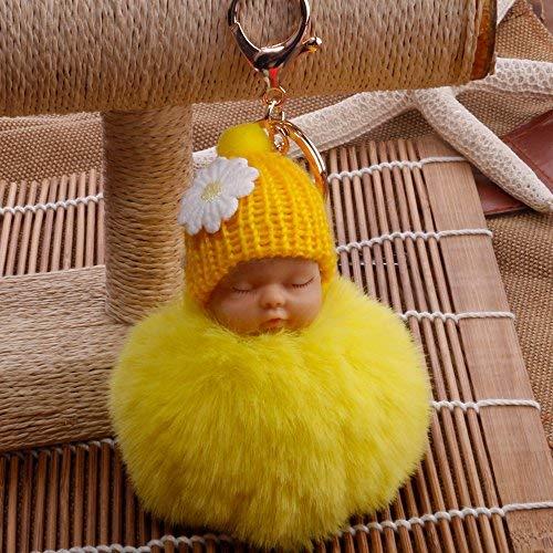 Goodup Lindo llavero de muñeca de bebé durmiente, con pompón, bola de felpa, para coche, accesorio para niñas y mujeres (amarillo)