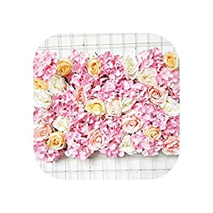 Heart-To-Heart 60X40Cm Artificial Hydrangea Rose Peony Flower Panels Wedding Backdrop Centerpieces Decorations Venue Floral Decor Fake Flower,Pink 4