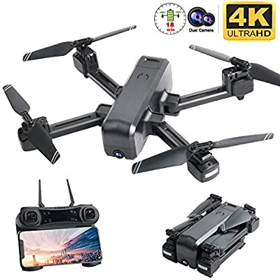 OKPOW 4K Camera Drone, Optical Flow Positioning Dual Cameras Smart Follow Wifi FPV Drone with Remote Adjustable 4K Wide Angle HD Camera, Foldable RC Quadcopter for Adults Beginners, Long Fight Time