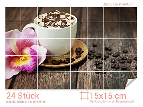 GRAZDesign Fliesenaufkleber Kaffee/Sahne/Orchideen-Blüte Küchen-Fliesen mit Folie überkleben (Fliesenmaß: 15x15cm (BxH)//Bild: 90x60cm (BxH))