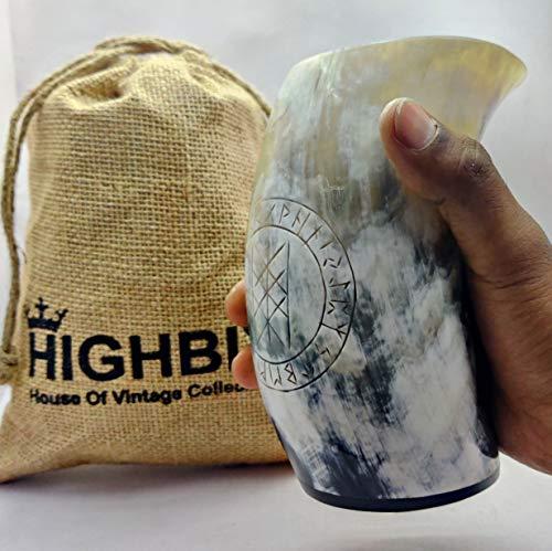 HIGHBIX Juego de 1 copa de cuerno vikingo, hecha a mano, para Mead, Ale y cerveza, taza medieval original con bolsa de yute clásica