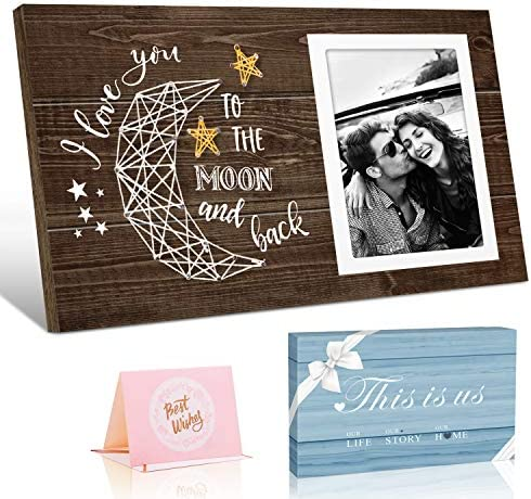 Picture Frame Gifts for Him Boyfriend Husband and Her Girlfriend Wife I Love You To The Moon product image