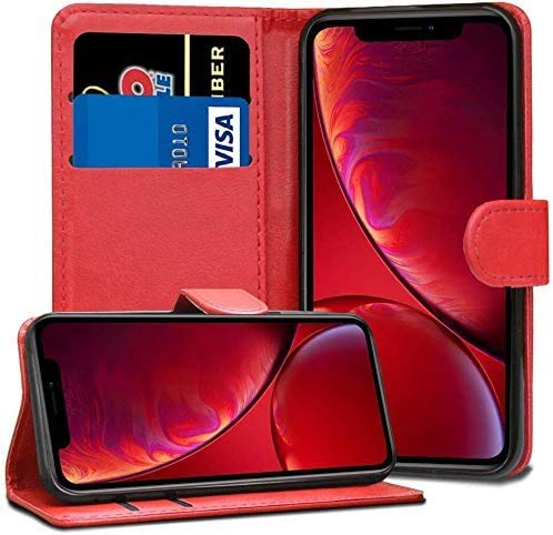 RASH Accessories - Custodia a portafoglio in pelle per Apple iPhone 6 7 8 5S SE Plus XS 11 Pro Max, Pelle, Rosso, Iphone 8