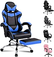 ALFORDSON Racing Gaming Chair with Footrest and Massage Lumbar Cushion PU Leather Video Ergonomic Game Chair with...