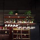 AERVEAL 2-Tier Wine Racks Adjustable Height Ceiling-Style Wine Bottle Holder Stemware Holder to Hang Cocktail or Champagne Flutes for Kitchen Bar Pubs or Restaurants Rack,80Cm(31.5In),80Cm(31.5In)
