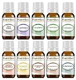 Essential Oil Set 10 - 10 ml. Therapeutic Grade 100% Pure Cedarwood, Eucalyptus, Frankincense, Lavender, Lemon, Lemongrass, Sweet Orange, Peppermint, Rosemary, Tea Tree for Skin, Body, Hair, Diffuser