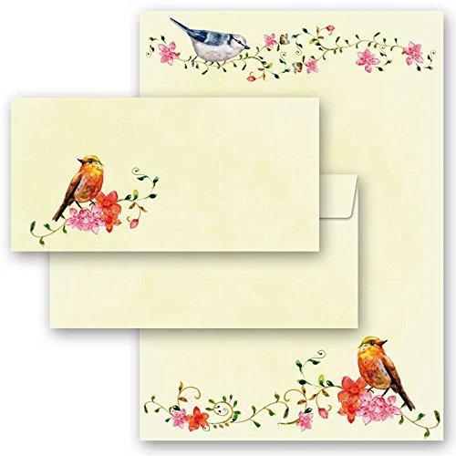20-tlg. Motivpapier Komplett-Set VOGELGEZWITSCHER 10 Blatt Briefpapier + 10 passende Briefumschläge DIN LANG ohne Fenster