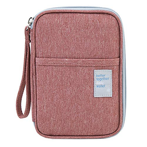 Rolin Roly Passport Wallet Travel Documents Organizer Waterproof Oxford Cloth Credit Card Purse Travelling holder with zipper 17.5 x11.5 x 2.2cm (pink)