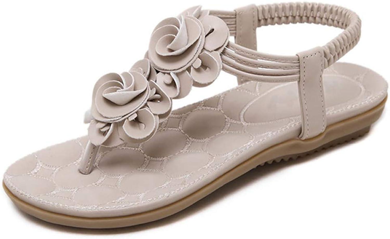 SOOKi Women's Flat Sandals Flower Bud shoes Bohemian Summer Beach T-Strap Flip-Flops Thong Sandals, White,39EU8US6UK